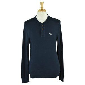 Abercrombie & Fitch Henley Shirts MED Blue